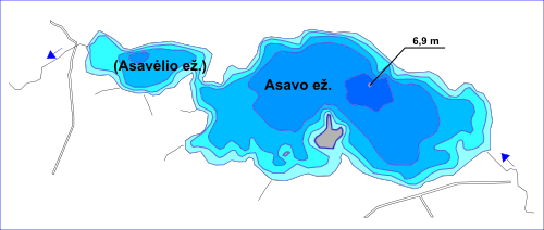 Ežeras Asavas, batimetrinis žemėlapis