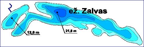Ežeras Zalvas, batimetrinis žemėlapis